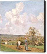 In The Fields Canvas Print by Camille Pissarro