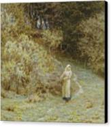 In The Primrose Wood Canvas Print by Helen Allingham