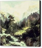 In The Teton Range Canvas Print by Thomas Moran