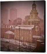 Independence Hall In The Snow Canvas Print