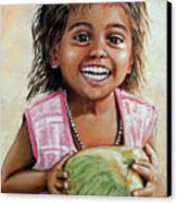 Indian Girl From The Slums Canvas Print by Mary Susanna Turcotte