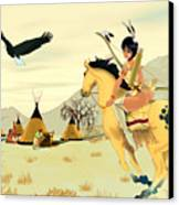 Indian On Horse Canvas Print