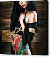 Inked, Tied Girl - Fine Art Of Bondage Canvas Print by Rod Meier