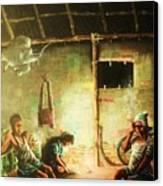 Inside Refugee Hut Canvas Print by Pralhad Gurung