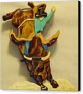 Intarsia Bull-rider Canvas Print by Russell Ellingsworth