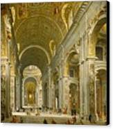 Interior Of St. Peter's - Rome Canvas Print by Giovanni Paolo Panini