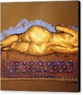 Isabel On Afghan Carpet- Back Canvas Print