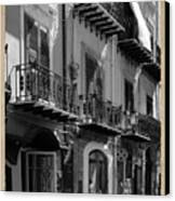 Italian Street In Black And White Canvas Print by Stefano Senise