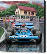 Jackie Stewart At Spa In The Rain Canvas Print
