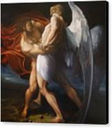 Jacob Wrestling The Angel Canvas Print by Paul Gilbert Baswell
