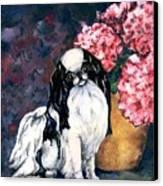 Japanese Chin And Hydrangeas Canvas Print