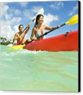 Japanese Couple Kayaking Canvas Print by Dana Edmunds - Printscapes