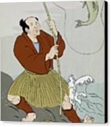 Japanese Fisherman Fishing Catching Trout Fish Canvas Print by Aloysius Patrimonio