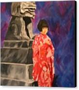 Japanese Girl With Chinese Lion Canvas Print
