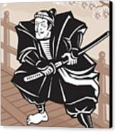 Japanese Samurai Warrior Sword On Bridge Canvas Print by Aloysius Patrimonio