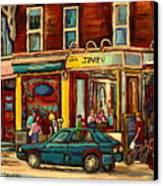 Java U Coffee Shop Montreal Painting By Streetscene Specialist Artist Carole Spandau Canvas Print