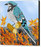 Jay With Corn And Leaves Canvas Print