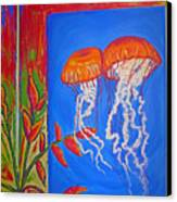 Jellyfish With Flowers Canvas Print