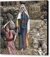 Jesus And His Mother At The Fountain Canvas Print by Tissot