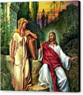 Jesus And The Woman At The Well Canvas Print