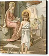 Jesus As A Boy Playing With Doves Canvas Print by John Lawson