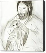 Jesus Holding Lamb Canvas Print by Sonya Chalmers