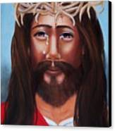 Jesus In Red Canvas Print by Joni McPherson