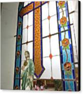 Jesus In The Church Window And School Girls In The Background Canvas Print