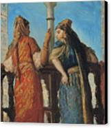 Jewish Women At The Balcony In Algiers Canvas Print by Theodore Chasseriau