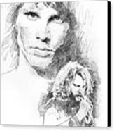 Jim Morrison Faces Canvas Print by David Lloyd Glover