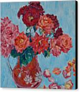Jjug With Red Roses Canvas Print