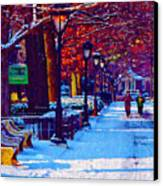 Jogging In The Snow Along Boathouse Row Canvas Print by Bill Cannon