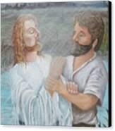 John Baptizing Jesus Canvas Print by Janna Columbus