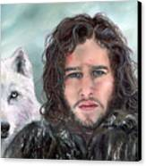 Jon Snow And Ghost Canvas Print by Denise H Cooperman