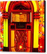 Juke Box With Christmas Lights Canvas Print