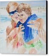 Jumping The Shore Break Canvas Print