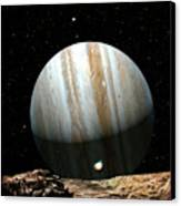 Jupiter Seen From Europa Canvas Print by Don Dixon