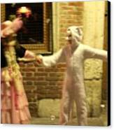 Kids Dancing During Carnevale In Venice Canvas Print