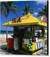 Kiosk On Ipanema Beach Canvas Print by George Oze