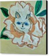 Kitty In The Magnolia Blossom Canvas Print by Marie Bulger