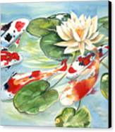 Koi In The Water Lilies Canvas Print
