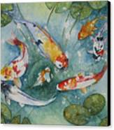 Koi  With Lilies Canvas Print