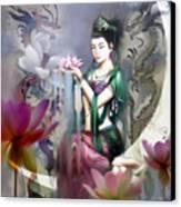 Kuan Yin Lotus Of Healing Canvas Print by Stephen Lucas
