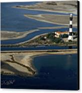 La Gacholle Lighthouse Surrounded With Blue Sea In Camargue Canvas Print by Sami Sarkis