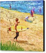 La Jolla Surfers Canvas Print by Marilyn Sholin