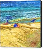 La Jolla Surfing Canvas Print by Marilyn Sholin