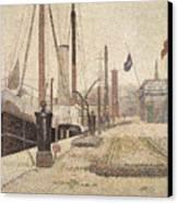 La Maria At Honfleur Canvas Print by Georges Pierre Seurat
