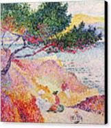 La Plage De Saint-clair Canvas Print by Henri-Edmond Cross