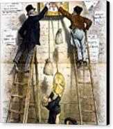 Labor Movement. Editorial Cartoon Canvas Print