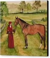 Lady And Horse Canvas Print
